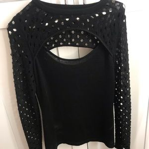 Aqua Sweaters - Aqua black sweater with trendy polkadots
